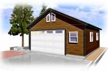 木製ガレージ・外壁レッドシーダー仕様