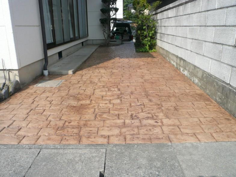 スタンプコンクリート・シーラーメンテ済