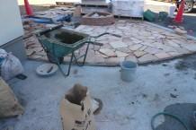 花壇 石張りアプローチ