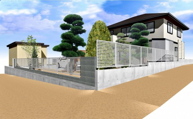 擁壁ブロック・フェンス CAD