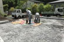 軽井沢町 スタンプコンクリートのガレージ床施工