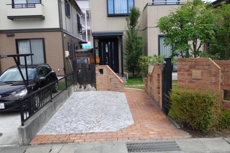 長野市 スタンプコンクリートの駐車スペース
