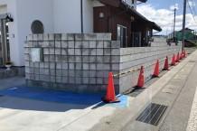 弾性塗材仕上げのブロック塀