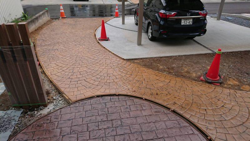 2種類のスタンプコンクリート