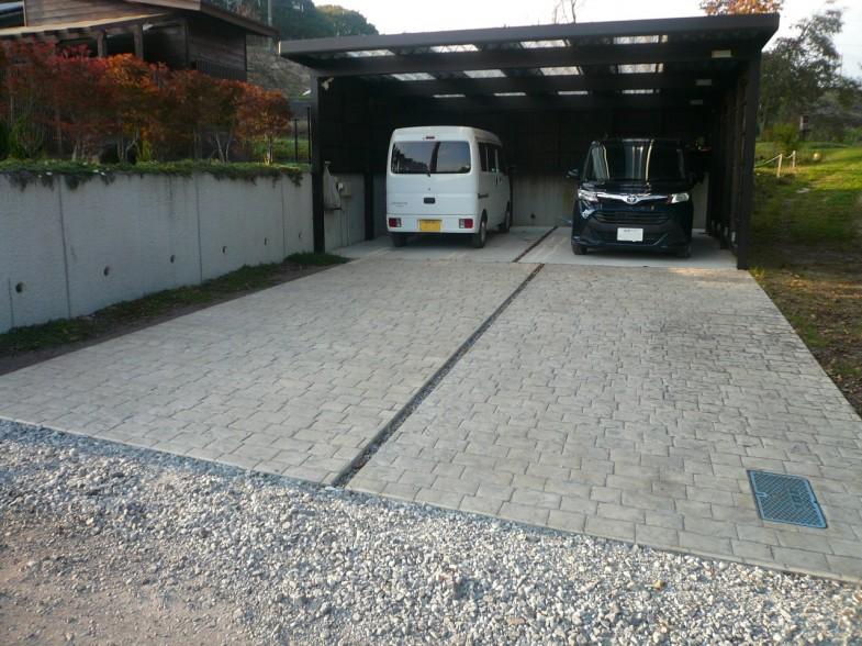 軽井沢 K様邸 スタンプコンクリート(ロンドン)