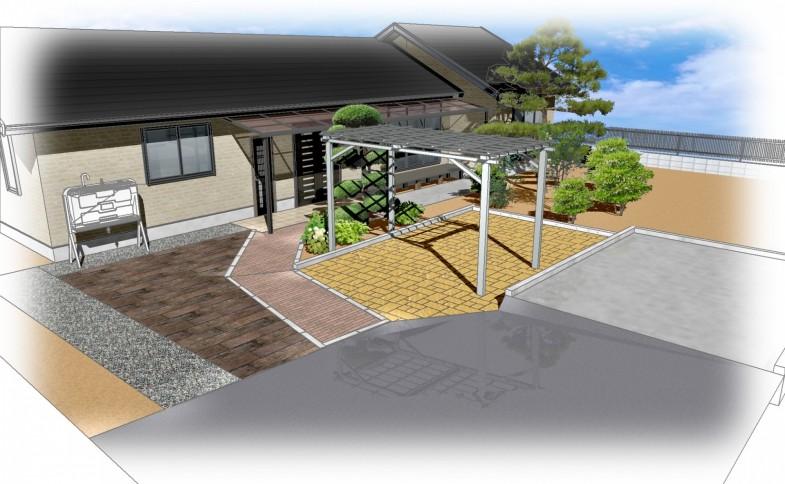 佐久市・S様邸 駐車場・アプローチ改修工事 完成イメージCAD