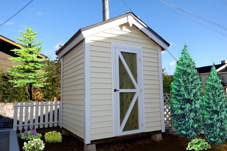 メイプルキャビン 6×6(外壁:アイボリー)ドア:グリーン