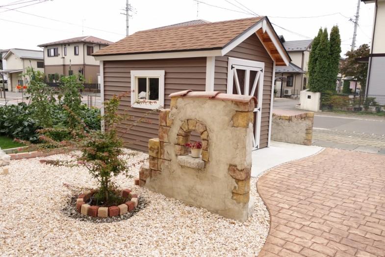 バイクガレージ・モルタル造形・スタンプコンクリート