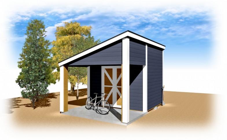 メイプルキャビン 自転車置き場 カスタマイズ仕様・外壁ブルー