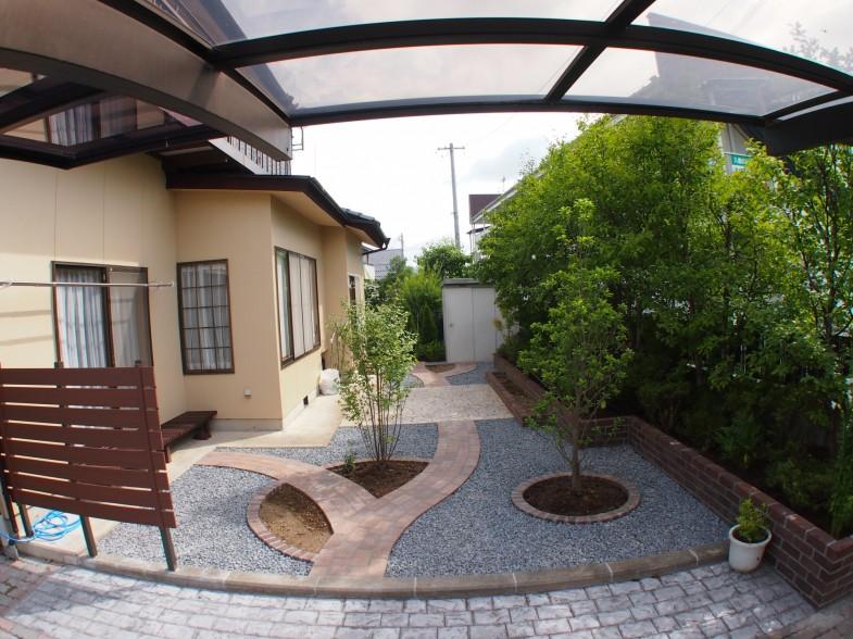 ガーデンリフォーム・アプローチ・植栽・スタンプコンクリート