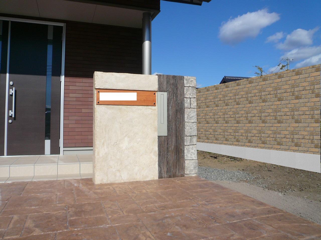 モルタル造形 モルタル造形の門柱
